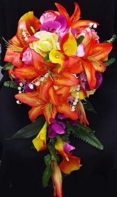 Wedding Tropical Orange Yellow and Fuchsia Natural Touch Silk Flower Bride Bouquet