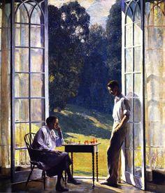 1933, mothers, sondaniel garber, sons, art, paint, daniel garber18801958moth, american impressionist, garber 18801958