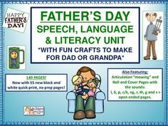 Hello!  This is a brand new posting and we have put it at 50% off for the next 24 hours.  Enjoy the savings!   We have put together 140 pages of fun Father's Day themed activities for you to do with your students this Father's Day!  And 60 of those pages are in ink-saving black and white!  They will be great for you to have in therapy or in the classroom as a quick print option for immediate work on literacy, language, speech and articulation!