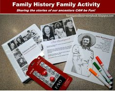 Fun family history family activity. Great way to get children involved in learning about their ancestors.