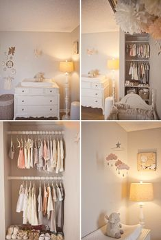 """Peach cloud mobile for nursery """"MAY"""" with gold star"""