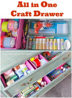 How to create an all-in-one craft drawer by shopping your home and using inexpensive plastic containers to organize craft supplies. Four Generations One Roof #organization #organize #craft