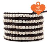 White Magnesite Wrap Bracelet on Natural Dark Brown Leather  $190.00