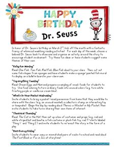 Free!! Ideas for each day to celebrate Dr. Seuss's birthday!