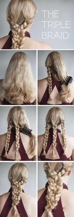 hair tutorials, hair romance, long hair, hairstyle tutorials, braids, tripl braid, braid hairstyles, hair style, braided hairstyles