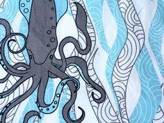 Organic cotton -Squid & Seaweed- Ocean theme-1 Yard- by NewMomDesigns