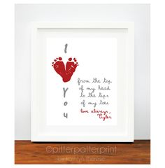 Valentines Day Gift for New Dad - Gift for Grandparents, Valentine for Grandma, Mom - Red Heart I Love You Art Print.