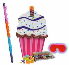 """Cupcake Giant Pinata Party Pack Including Pinata, Pinata Candy and Toy Filler, Buster and Blindfold by Pinata. $82.50. Includes (1) themed Cupcake Giant Pinata. 36""""H x 21""""W. Includes approximately 2 pounds of Candy and Toys. Caution: not recommended for children under 3 years of age. Includes one hard Plastic Pinata Buster that measures approximately 30"""". Caution: use only under adult supervision. Includes one Blindfold with Elastic String. Measures 7"""" long x 5.5"""" high."""