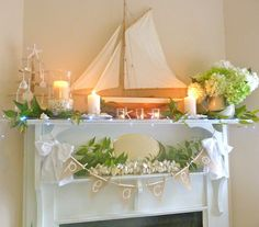 beach cottage mantle at Christmas