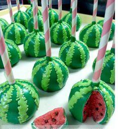 Watermelon Cake Pop birthday snacks, cupcak, idea, watermelon cake pops, cakes, food, cakepop, watermelons, dessert