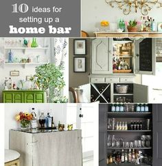 10 Ideas For Setting Up A Home Bar-  love the built-ins, the open shelves and the armoires