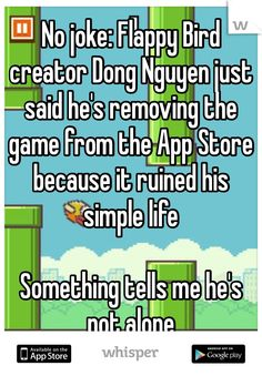 No joke: Flappy Bird creator Dong Nguyen just said he's removing the game from the App Store because it ruined his simple life  Something tells me he's not alone