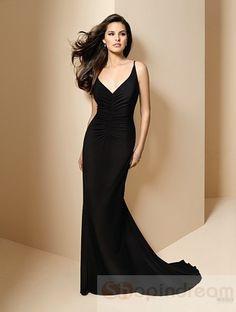 A-line v-neck strap black long bridesmaid dress - Gorgeous dress, but in my purple color!