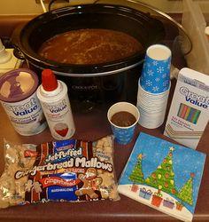 holiday, christmas parties, school, crock pots, express idea, polarexpress, polar express, bathroom shelves, hot cocoa