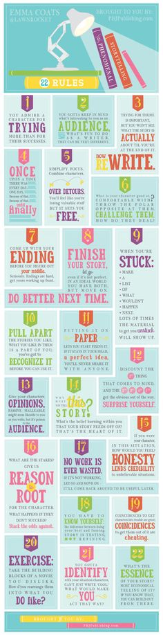 22 Rules to Phenomenal Storytelling by PBJpublishing: These little pearls of wisdom were tweeted by storyboard artist Emma Coats. She wrote them herself but learned them at Pixar from her senior colleagues. #Infographic #Story_Telling #Pixar #Emma_Coats