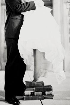 short bride, book lovers, idea, wedding photography, book nerd, engagement pics, wedding photos, wedding pictures, short girl problems