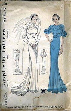 Simplicity 1456 circa 1935. Misses' Wedding and Dinner Dress. Featured in Simplicity Patterns Catalogue, May 1935