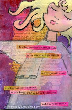 Angel Girl with Mother Teresa quotes