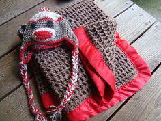 Ravelry: Imjkblkbrn's Baby Trent's Monkey Themed Blanket and Hat