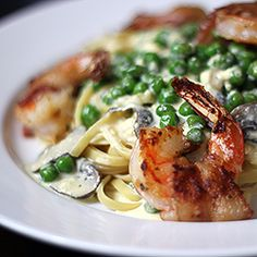 fettuccine with chipotle cream sauce and bacon wrapped shrimp