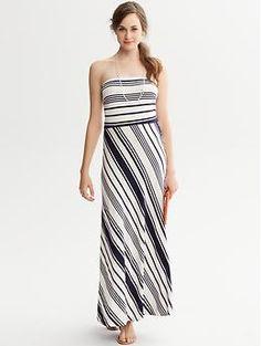 Striped Knit Strapless Patio Dress | Banana Republic