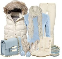 I adore the faux fur and baby blue...my school colors too, go Rebels!