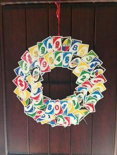 UNO party theme wreath.