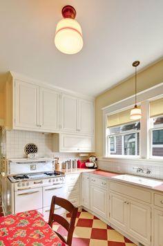 Retro kitchen with wonderful red checkerboard floor.