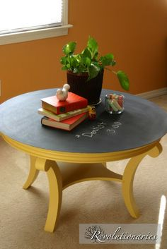 Revolutionaries: New Project Reveal chalk board coffee table made by painting over laminate..