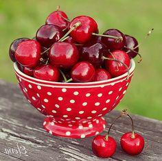 red & white polka dot . . .