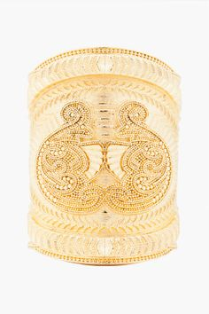 BALMAIN Large Gold Tone Stephanie Cuff #Cuff #Gold