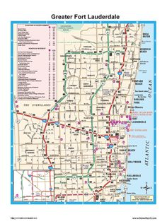 Greater Fort Lauderdale shopping and entertainment, points of interest map