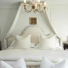 Lucinda Loya Interiors - bedrooms - gray, walls, decorative, wall moldings, linen, headboard, nailhead trim, silk, canopy, alabaster, lamp, ...