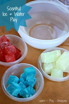 Sensory activities for summer fun with colored ice and water.  Read about the simple and frugal ingredient we added to fill our play with delightful aromas!
