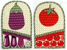 """""""Veggie Oven Mitts"""" made with fabric from the Veggie Patch and Joy Basket collections by Hoodie for Blank Quilting."""