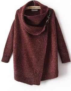 terrific rich color and asymmetrical design to this sweater