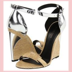 Metallic leather wedges