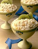 Desserts > Banana Kiwi Pudding:  Try brown basmati rice for added fiber and whole grain nutrients - experiment with fat-free whipping cream for those wanting a heart healthy option.  Enjoy! banana kiwi