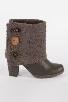 Button Up Knit Cuff Boot.