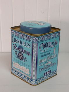 Vintage Aqua Turquoise & Blue Denkel's Chocolatina Lithograph Lunch Chocolate Tin, Denkel Brothers - Collectible