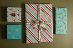 wrap frames that you already have on the wall for Christmas decor!