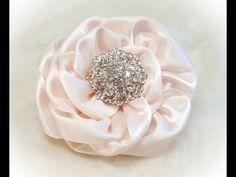 Kanzashi Flower, Ribbon Rose, Tutorial, DIY, One piece, no cuts - YouTube