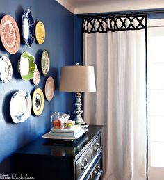the little black door: DIY ribbon trim curtain panels