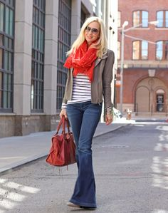 Goldsign Jeans, H Striped Top, Dolce Vita Leather Jacket, Rebecca Minkoff Shoes, J Crew Scarf, Balenciaga Bag. J Crew Necklace.