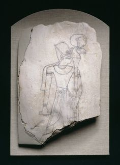 Egyptian  Sketch of a King, New Kingdom, Dynasty 19-20, (about 1292–1070 B.C.)  Limestone, pigment