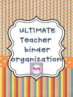 These cover sheets will help you to keep your teacher binder organized! You can use them as inserts to individual binders or keep them all in one l...
