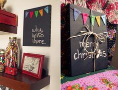 Wood frame, chalk board paint, primer, felt, twine, chalk