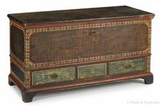 "Lebanon County, Pennsylvania painted pine dower chest, ca. 1810, with an ochre sponge decorated ground with diamond surround, above three green sponged drawers supported by bracket feet, 28 1/2"" h., 51"" w."