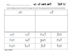 Unit 1:      5 word sorts using the Macmillan/McGraw-Hill Treasures Reading Program first grade Spelling words and spelling patterns. This purchase contains gra...