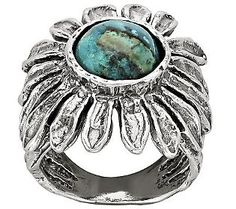 Or Paz Sterling Oxidized Chrysocola Daisy Ring!